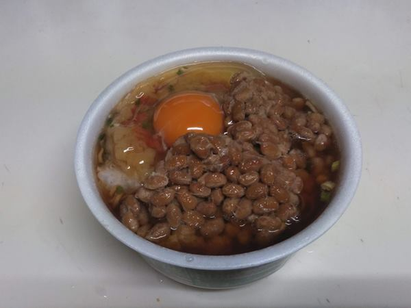 2019/10/16朝食納豆天玉蕎麦