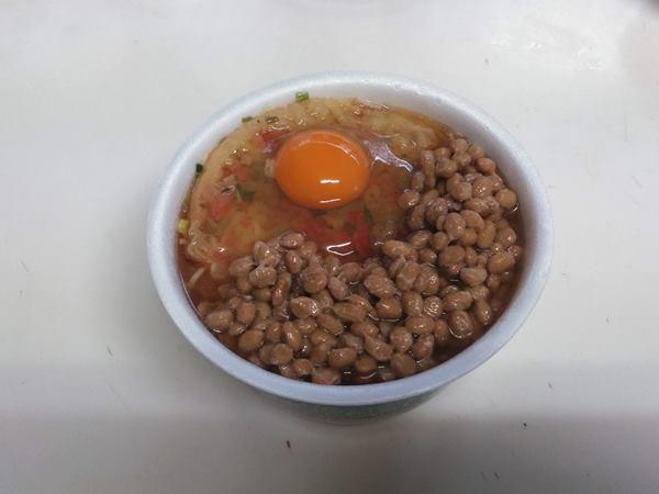 2019/10/17日朝食納豆天玉蕎麦